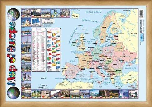 Framed Framed Map Of Europe - Educational Map