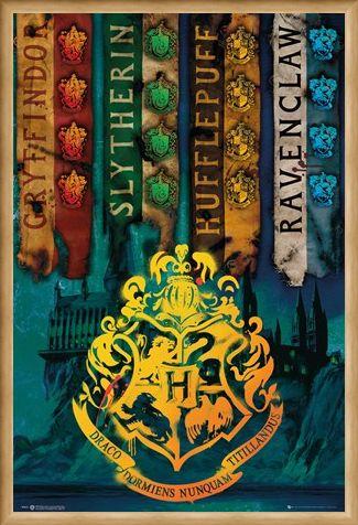 Framed Framed House Flags - Harry Potter