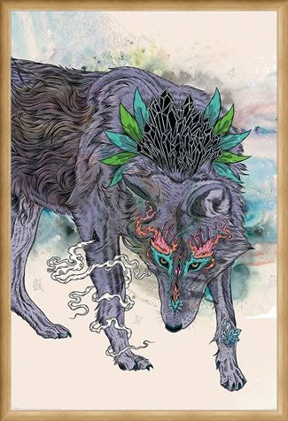 Framed Framed Journeying Spirit - Wolf - Mat Miller