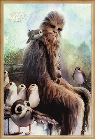 Framed Framed Chewbacca & Porgs - The Last Jedi