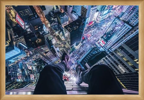 Framed Framed The City That Never Sleeps - On The Edge Of Times Square