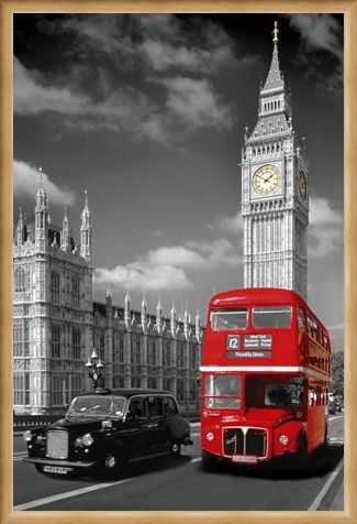 Framed Framed Piccadilly Bus and Black Cab - Iconic London Scene