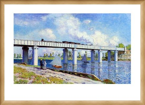 Framed Framed The Railway Bridge to Argenteuil - Claude Monet