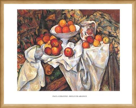 Framed Framed Still life with Apples and Oranges - Paul Cezanne