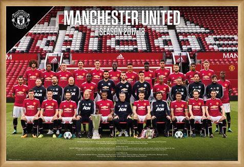 Framed Framed Team Photo 17-18 - Manchester United