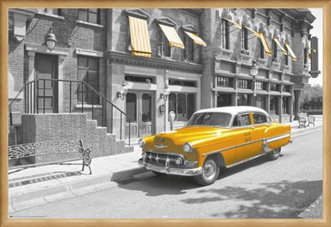 Framed Framed Taxi! - Yellow Cab In Manhattan