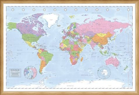 Framed Framed Political World Map - Miller Projection