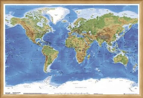 Framed Framed Planetary Visions - Map of the Earth
