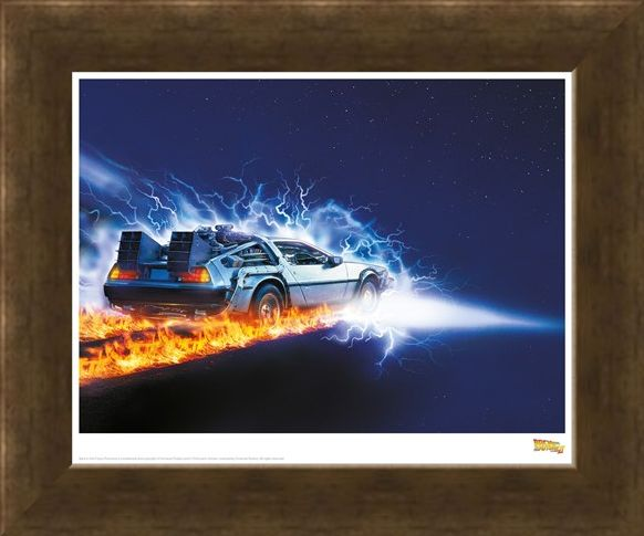 Framed Framed Delorean Fire Light - Back To The Future