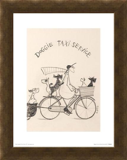 Framed Framed Doggie Taxi Service Sketch - Sam Toft