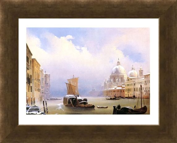 Framed Framed Canal Grande E La Salute Con la Neve - Ippolito Caffi
