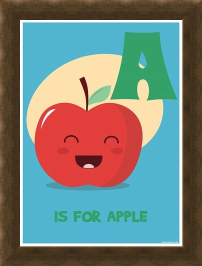 Framed Framed A Is For Apple - Alphabet Art