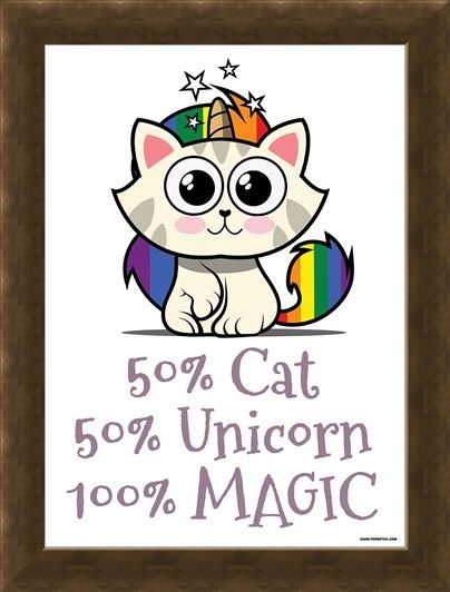 Framed Framed Rainbow Kitty - 50% Cat, 50% Unicorn, 100% Magic