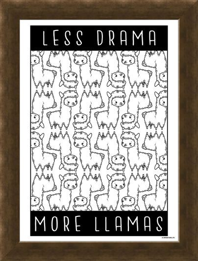 Framed Framed Less Drama More Llamas - Furry Frenzy