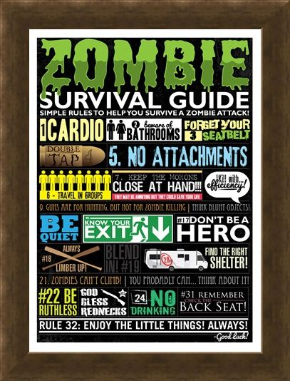 Framed Framed Zombie Survival Guide - Simple Rules To Survive