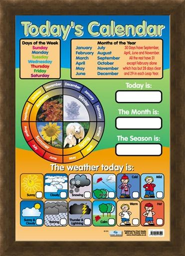 Framed Framed Today's Calendar - Educational Children's Chart