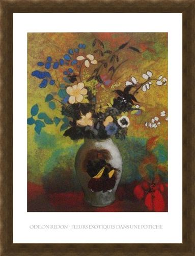 Framed Framed Exotic Flowers - Odilon Redon