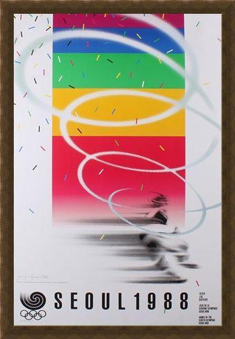 Framed Framed Commemorative Art Print By Cho Jong-Hyun - 1988 Seoul Olympic Games