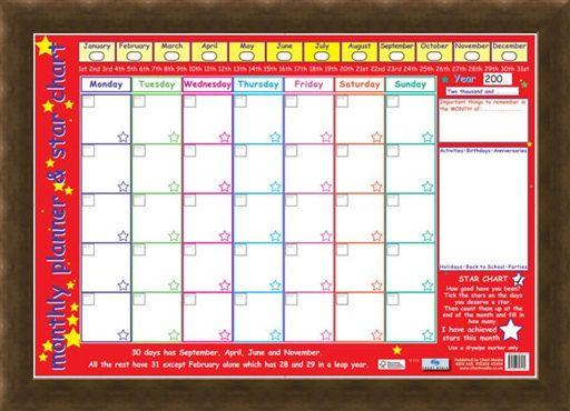 Framed Framed Monthly Planner and Star Chart - Children's Planner