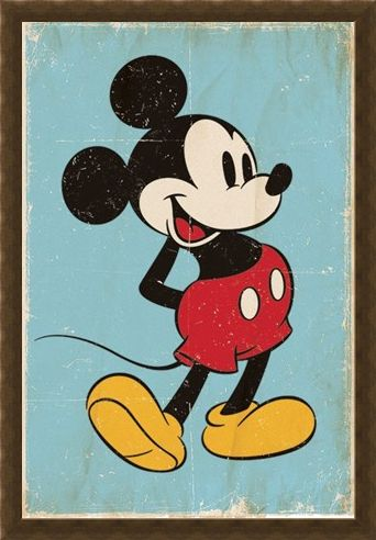 Framed Framed Retro Mickey Mouse - Walt Disney
