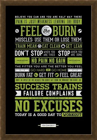 Framed Framed Gym Motivation - No Excuses