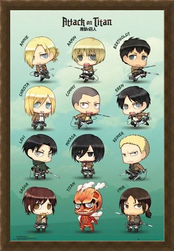 Framed Framed Chibi Characters - Attack On Titan