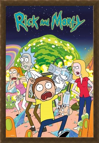 Framed Framed Rick and Morty Group - Cartoon Sitcom