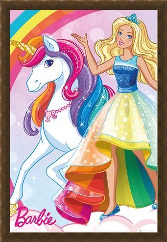 Framed Framed Glittering Rainbow Unicorn - Barbie