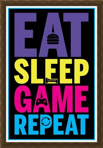 Framed Framed Eat, Sleep, Game, Repeat - Gaming Life