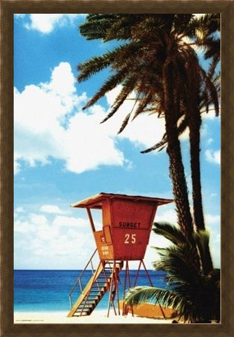Framed Framed Lifeguard Hut - Paradise