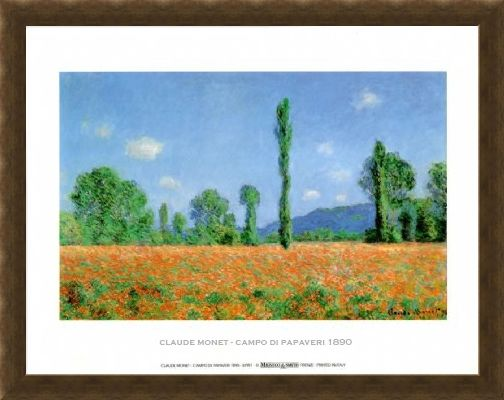 Framed Framed Poppy Field - Claude Monet