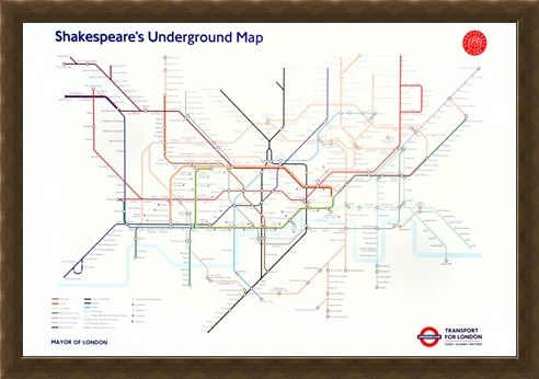 Framed Framed Shakespeare's Underground Map - Transport For London