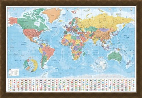 Framed Framed Flags And Facts - World Map