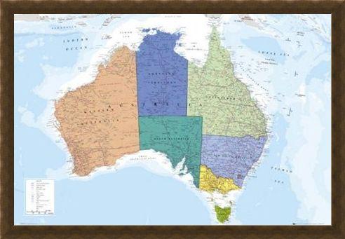 Framed Framed The World's Smallest Continent - Map Of Australia