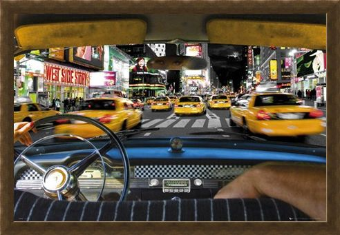 Framed Framed Times Square Taxi - New York