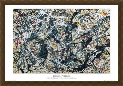 Framed Framed Silver on Black - By Jackson Pollock