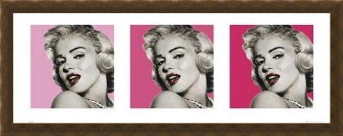 Framed Framed Pink Triptych - Marilyn