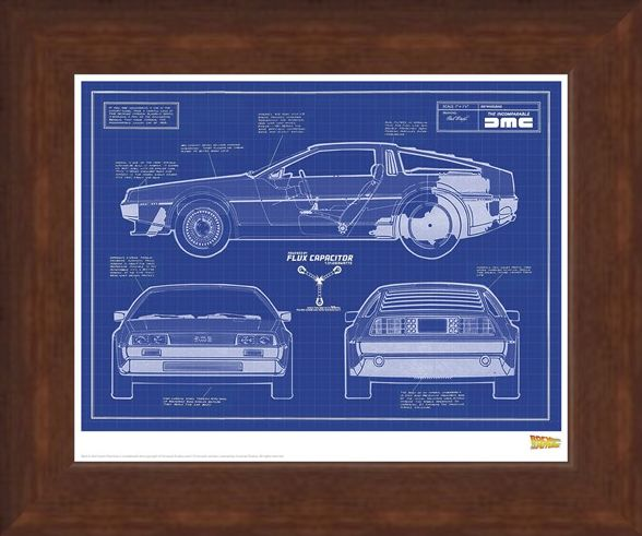 Framed Framed Delorean Blueprint - Back To The Future
