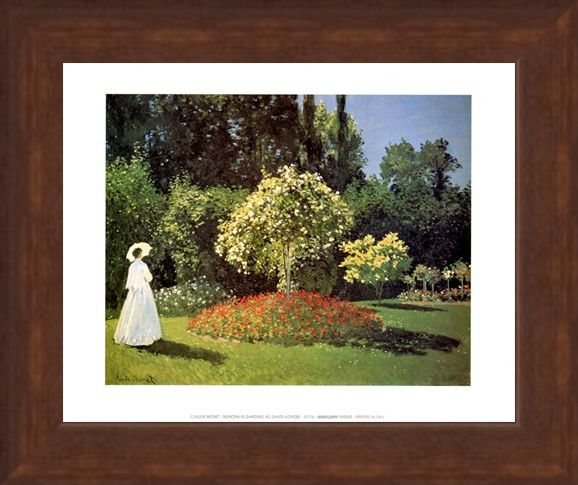 Framed Framed Woman in the Garden at Sainte Adresse - Claude Monet