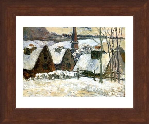 Framed Framed Village Breton Sous La Neige - Paul Gauguin