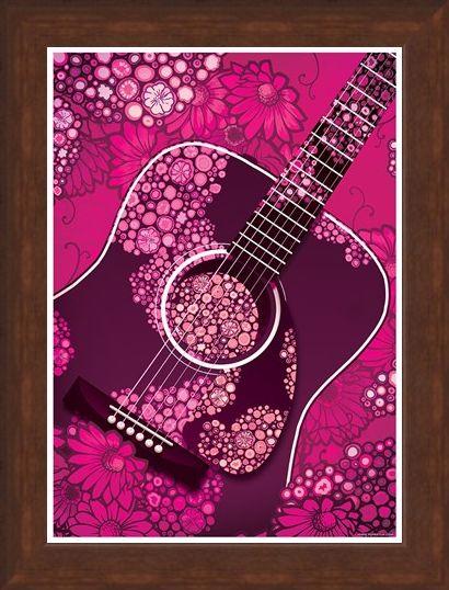 Framed Framed Pink Floral Guitar - Acoustic