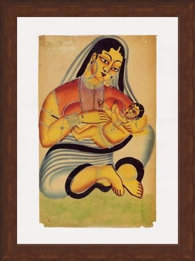 Framed Framed Mother and Child - Indian Popular Painting From Kalighat