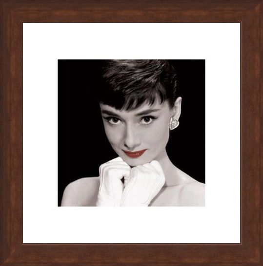 Framed Framed White Gloves & Red Lips - Audrey Hepburn
