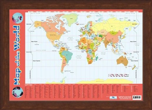 Framed Framed Map Of The World - Educational Map