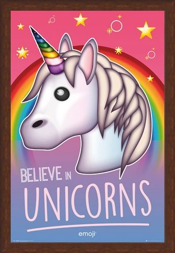 Framed Framed Believe In Unicorns - Emoji