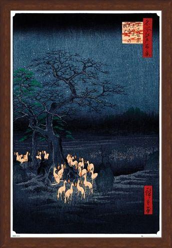 Framed Framed New Years Eve Foxfire - Utagawa Hiroshige