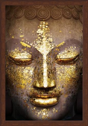 Framed Framed Speckled in Gold - The Face of the Buddha