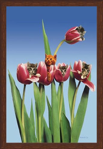 Framed Framed Kittens in Tulips - Cute Little Kittens