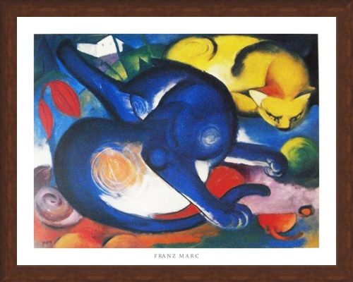 Framed Framed Two Cats, Blue and Yellow 1912 - Franz Marc