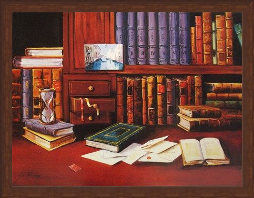 Framed Framed Library with Hourglass - G de Simoni
